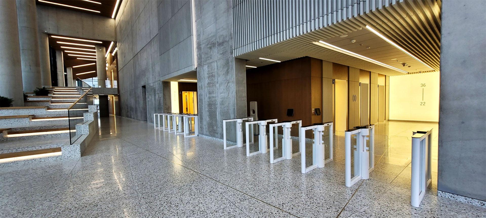 SG-3 optical turnstiles installed in Skyliner Skyscraper